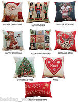 XMAS CUSHION COVERS DECORATIVE FESTIVE TAPESTRY MERRY CHRISTMAS THROW SCATTER