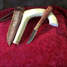 Jeff White Patch Knife Mountain Man With Leather Neck Sheath Eucalyptus  1 Of 4