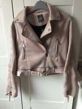 Ladies Suede Pink Biker Jacket Size 6 BNWT