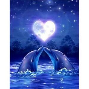 5D DIY Full Drill Diamond Painting Dolphin Love Cross Stitch Embroidery Kit