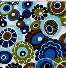 Olympia Blue Geometric Floral 100% cotton fabric by the yard