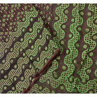"Tcw  Vintage Organza Silk Woven Design Fabric Decor  Craft 59""X44"""