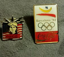 Vintage 1982  Coca-Cola Statue Liberty Collectible Pin NM Free Barcelona pin