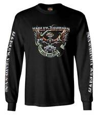 Harley-Davidson Men's Eagle Ride Long Sleeve Crew-Neck Cotton Shirt, Black
