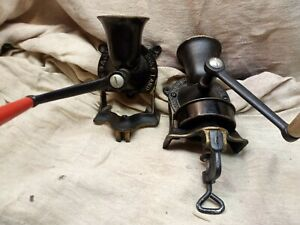 Spong No 1 Cast Iron Coffee Grinders x2 / Mill, Made In England very tidy.