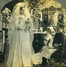Stereoview Photo Victorian Wedding Bride in Wedding Gown Ready for Bridegroom