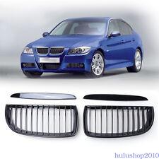2pc Front Bumper Kidney Grill Gloss Black For BMW E90 Sedan E91 4-Door 2005-2008