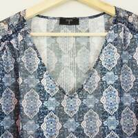 [ TAHARI ] T Womens  Print Blouse Top | Size XL or AU 16 / US 12