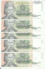 YUGOSLAVIA LOT 5x 10000 DINARA 1993  P 129. UNC CONDITION. 4RW 09MAR
