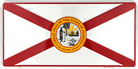 """State of Florida FL Flag 6""""x12"""" Aluminum License Plate Tag Made in USA"""
