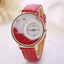 v; Women Bracelet Bangle Leather Crystal Dial Quartz Analog Wrist Watch Red