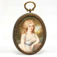 ANTIQUE HAND-PAINTED MINIATURE PORTRAIT YOUNG LADY IN PENDANT FRAME, SIGNED