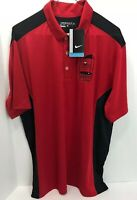 Nike Dri-Fit Polo Mens Large Golf Shirt Red Black Vented Holes New With Tags