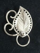 Vintage STERLING SILVER Leaf & Scrolls ESTATE Pin  MINTY!!