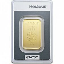 Lingot or  20 grammes or pur 999/1000 Heraeus numéroté Suisse gold bar Swiss