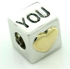 Love You 9K 9ct 375 Solid Yellow & White Gold Bead Charm FIT EURO BRACELET