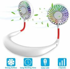 Mini Ventilateur Cou Portable Double Blanc Rechargeable USB Nuque Refroidisseur