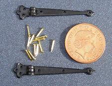 1:12 Scale 2 Black Hinges & Pins Dolls House Door DIY Accessories 4cm open 620