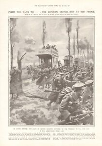 1914 ANTIQUE PRINT- WW1- THE LONDON MOTOR BUS AT THE FRONT