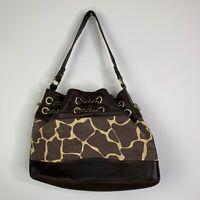 Elaine Turner Women's Handbag Brown Tan Animal Print Straw Purse Shoulder Bag