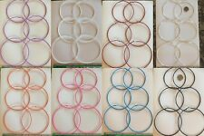 3-24 PAIRS EARRING LARGE 1-6 INCHES HOOP EARRINGS SILVER GOLD SIMPLE THIN HOOPS
