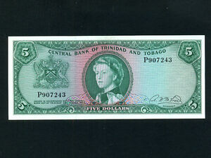 Trinidad & Tobago:P-27b,5$,1964 * Queen Elizabeth II * A.N. Mcleod * AU-UNC *