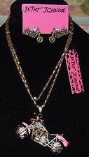 2 PC BETSEY JOHNSON PRETTY IN PINK MOTORCYCLE WITH MATCHING EARRINGS CRYSTAL