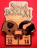 Vintage NFL Super Bowl XI (11) Starline Collectors Pin: Raiders vs Vikings
