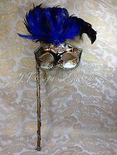 Blue Musical Feather Hand Held Stick Mask Ball Venetian Masquerade Mask w/Gem