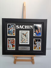UNIQUE PROFESSIONALLY FRAMED, SIGNED SACHIN TENDULKAR PHOTO COLLAGE WITH PLAQUE.