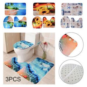 3 * toilet mat set toilet cover toilet seat carpet base non slip bathroom mat