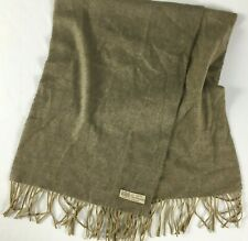 vintage Unbranded Made in England 100% Cashmere Fringed Scarf Brown