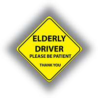 Elderly Driver Please Be Patient Sign Baby On Board Style Suction Cup Car Window Sign Grandma Driving Car Sign