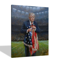 Donald Trump,RESPECT THE FLAG Poster Wall Art  Oil Paintings Canvas Prints 24x36