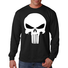 Marvel Punisher Skull White Ink Cool Long Sleeve T-Shirt