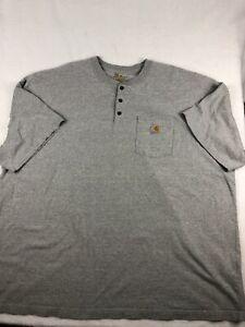 Carhartt Original Fit Cotton Pocket Polo Shirt Gray 1/4 Button Mens 4XL