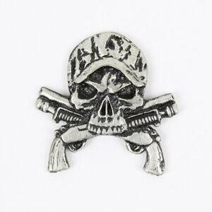 Biker Chopper Camo Skull Guns Totenkopf Shotgun USA Pin Anstecker Anstecknadel