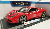 MAISTO 1:18 Scale - Ferrari 458 Speciale - Red with Stripes - Diecast Model Car