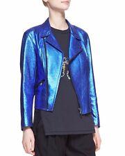 Authentic Phillip Lim Metallic Blue Leather Moto Jacket - Size 2