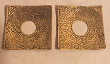 bougeoir chandelier bobeche carrée bronze fleurs paire (n°1)