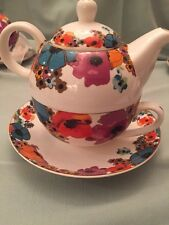 Grace's Teaware Tea for One Set /Multicolor Flowers, Gold Trim -New, Free Ship