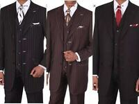 Men's Boss Classic PinStriped Suit With Vest  Stripe Stitching    M5903v