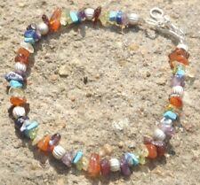 Handmade chakra rainbow semi precious gemstone chips bracelet