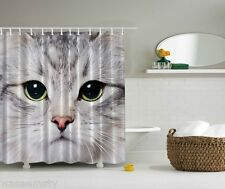 White Cat Eyes Pet Face Digital Print Graphic Shower Curtain