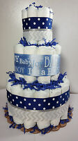 3 Tier Diaper Cake Blue Silver Chevron It's a Boy Baby Shower Centerpiece