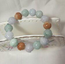 Certificated A grade Jadeite handcarved cabbage 14mm beads bracelet L21cm adjust