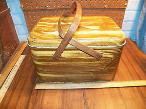 Vintage Tin Metal Picnic Basket w Wood Handles - Wood Grain Pattern            *