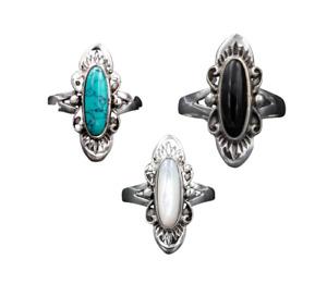 """925er Sterling Silber Ring """"Flora"""" mit Perlmutt, Onyx oder Türkis Oval"""