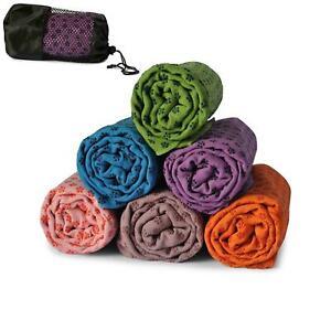 Non Slip Yoga Towel Microfibre Pilates Hot Bikram Grip Blanket Travel Bag