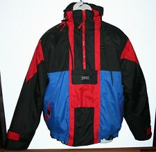 Mens Size Medium Vintage SASSON Winter Ski Jacket ~ Black with Red and Blue